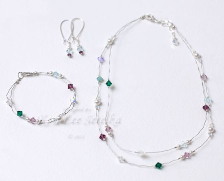 Dual Layer Crystal & Pearl Jewelry Set - Keri Lee Sereika WEB
