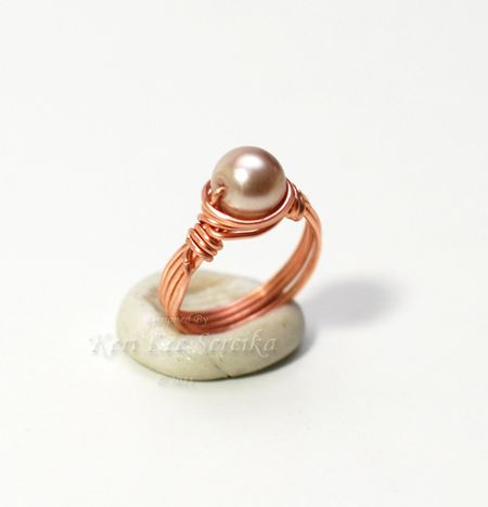9-1-11 Wirewrapped Pearl Ring - Keri Lee Sereika