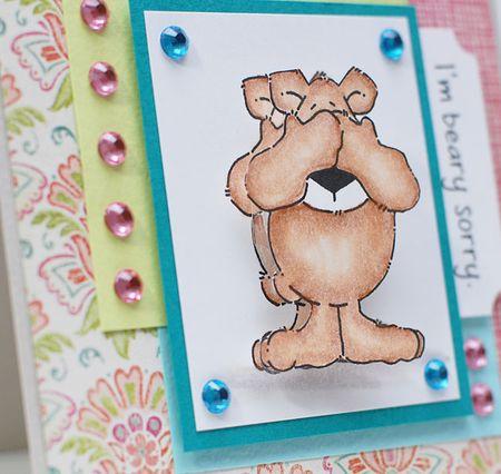5-19-12 Inky Antics Action Wobbles Blog Hop Card front angle - I'm Beary Sorry - Keri Lee Sereika