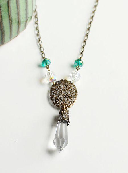 5-16-12 Brass Filigree & Pointed Crystal Necklace - Keri Lee Sereika