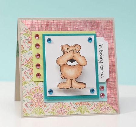 5-19-12 Inky Antics Action Wobbles Blog Hop Card front  - I'm Beary Sorry - Keri Lee Sereika