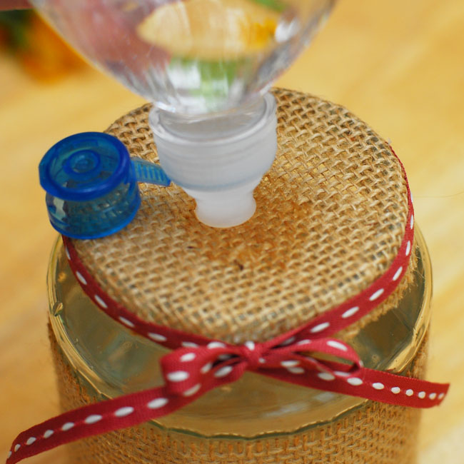 08 - Press a waterbottle to the top and squeeze gently to fill the vase  - Keri Lee Sereika