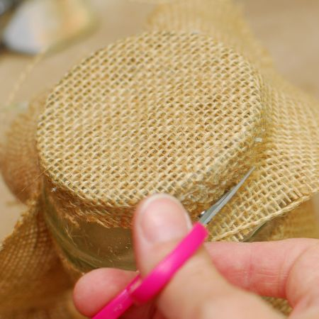06 - Using small sharp scissors trim away the excess unglued burlap - Keri Lee Sereika