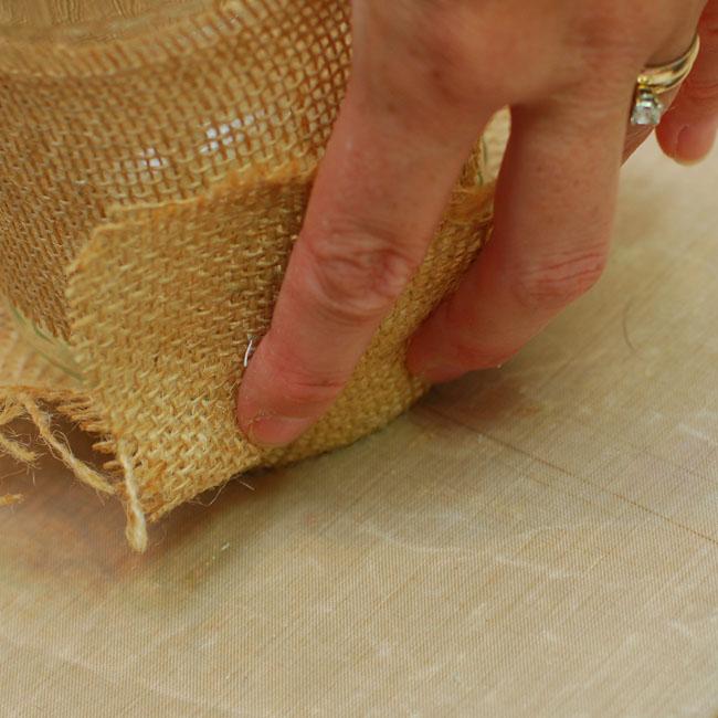 04 - Bring the burlap up and press into the hot glue - Keri Lee Sereika