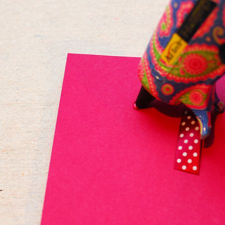 08 - Press Cardstock onto Adhesive and Hot glue a loop of coordinating ribbon to back - Keri Lee Sereika